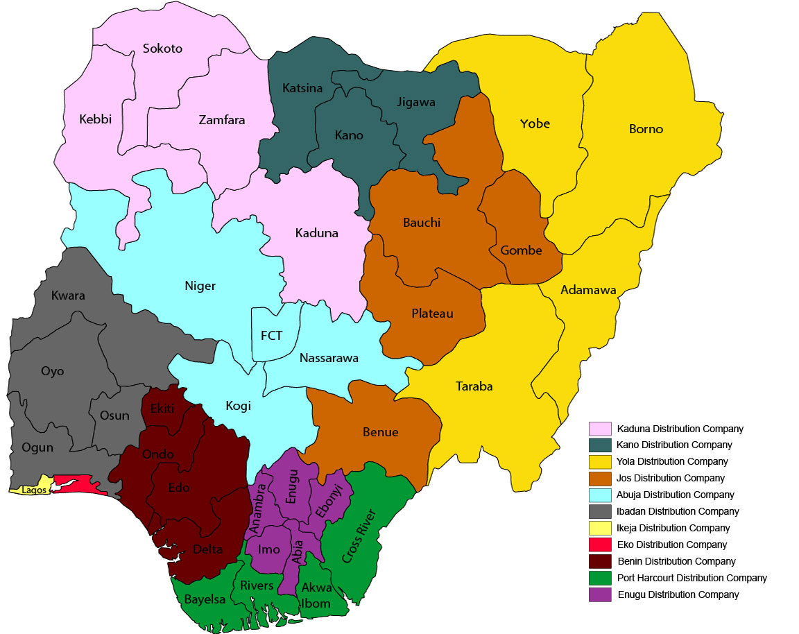 Nigerian electricity distribution companies coverage area (infographic) map